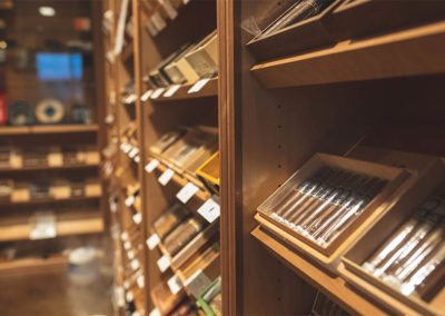 Close up of cigar storage room